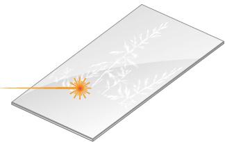 Motiv auf Glastür lasern - Lionidas Design GmbH